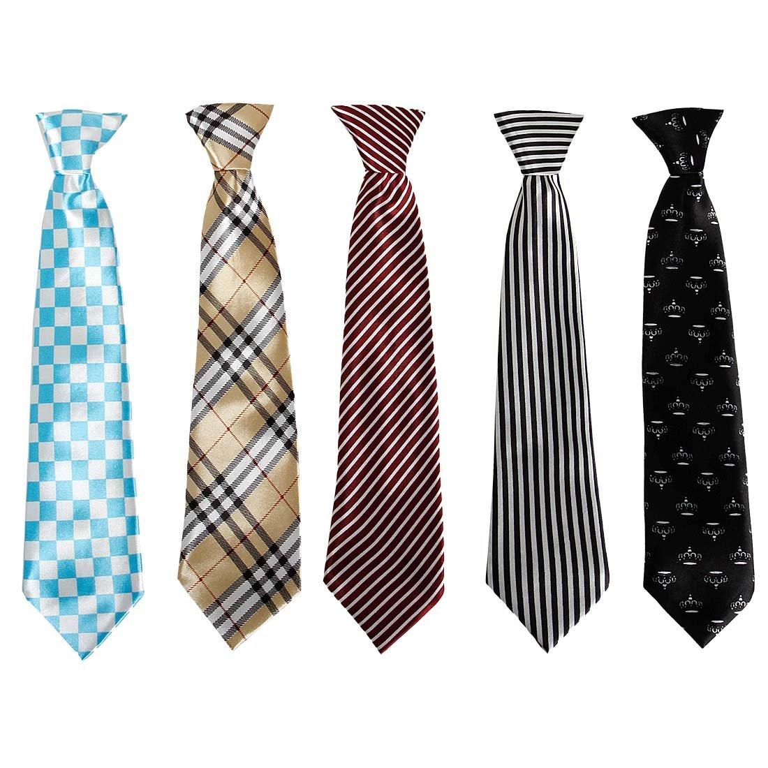 Bundle Monster 5pc Mix Design Boys Formal Wear Pre-Tied Polyester Necktie Set Spotlight Stealer