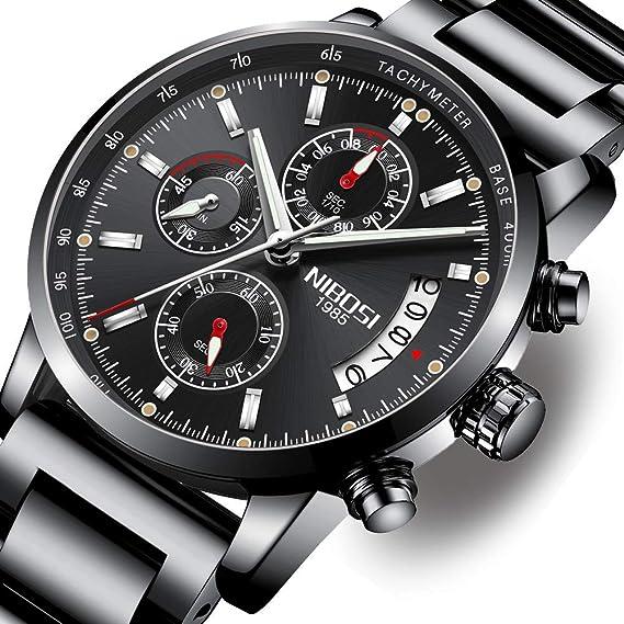 Relojes Hombre Acero Inoxidable Reloj de Pulsera de Lujo Moda Cronómetro: Amazon.es: Relojes