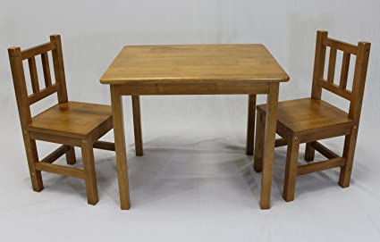 EHemco Kids Table And 2 Chairs Set Solid Hard Wood (Honey Oak)