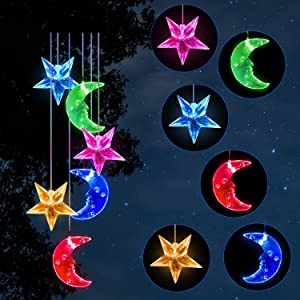 Solawindchime Moon and stars Wind Chimes Gifts for Women, Color Changing Solar Wind Chime Outdoor Decor Waterproof Solar Lights Romantic star Moon Wind Bells Solar Powered Wind Chime Garden Decoration