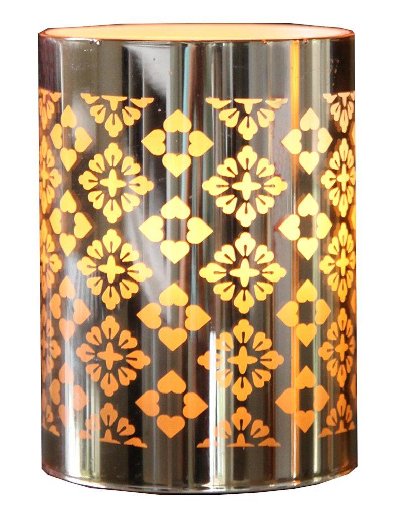 LED Windlicht Kerzenlicht mit Spiegelfolie gold Timer Batteriebetrieb