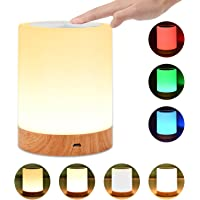 UNIFUN Touch Lamp, Table Bedside Lamps for Bedrooms Living Room Portable Night Light with Rechargeable Internal Battery Dimmable Warm White Light & Color Changing RGB
