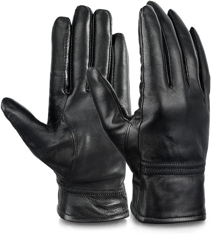 Damen Lederhandschuhe Echtes Leder Handschuhe Fleece Futter Komfort Größe 7-8