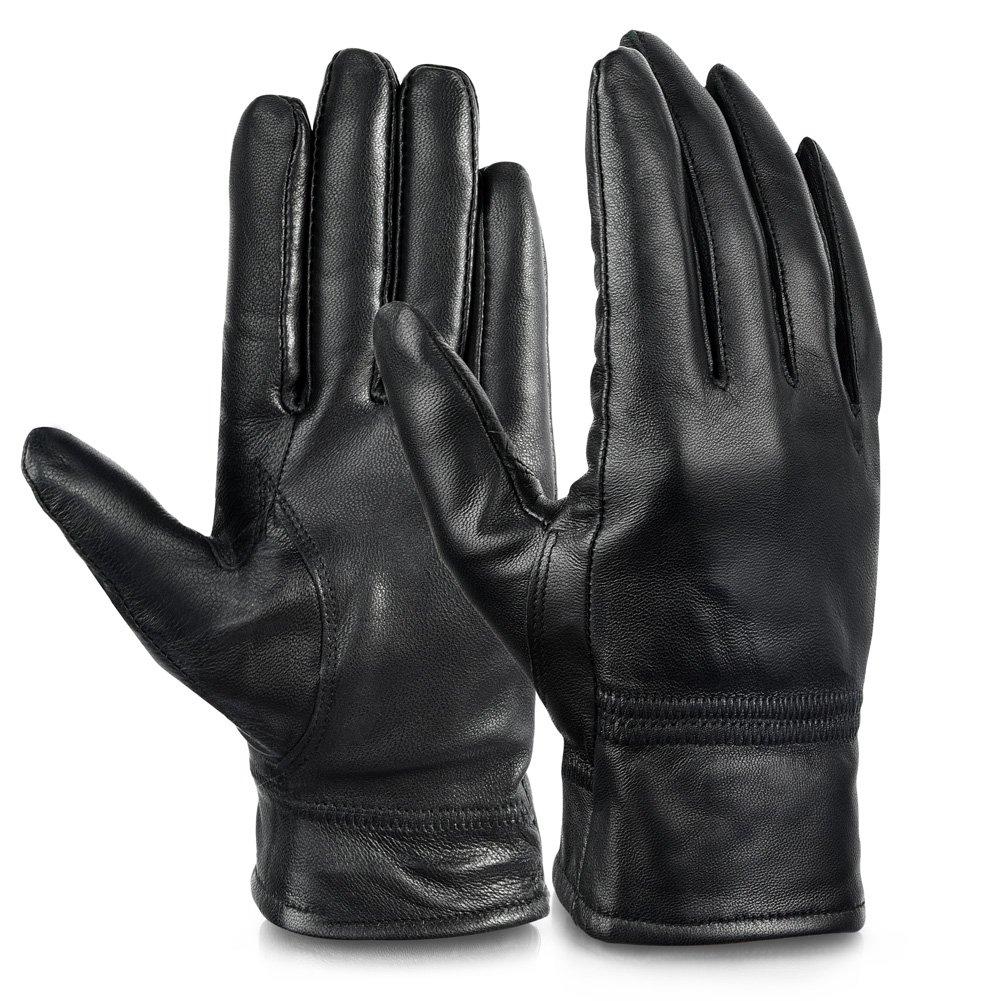 Vbiger Women's Full-finger Gloves Genuine Leather Warm Winter Gloves