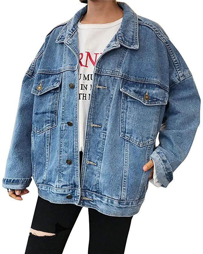 GENx Womens Oversize Distressed Hatty Hem Denim Jacket JK-4007