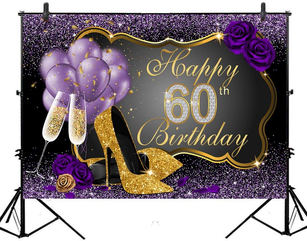OERJU 8x6ft Happy 60th Birthday Backdrop Red Purple Balloons Red Wine Glass Purple Glitter High Heels Lady Woman Sixty Years Old Birthday Photography Background Happy Birthday Party Decor Banner