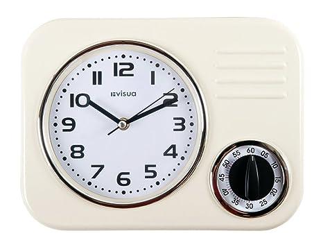 KIRA Metal Retro Kitchen Clock With Mechanical Timer (Ivory)