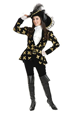 beff2fe0670 Charades Women's Elegant Pirate Jacket and Pants Costume Set, Wine/Black,  Small