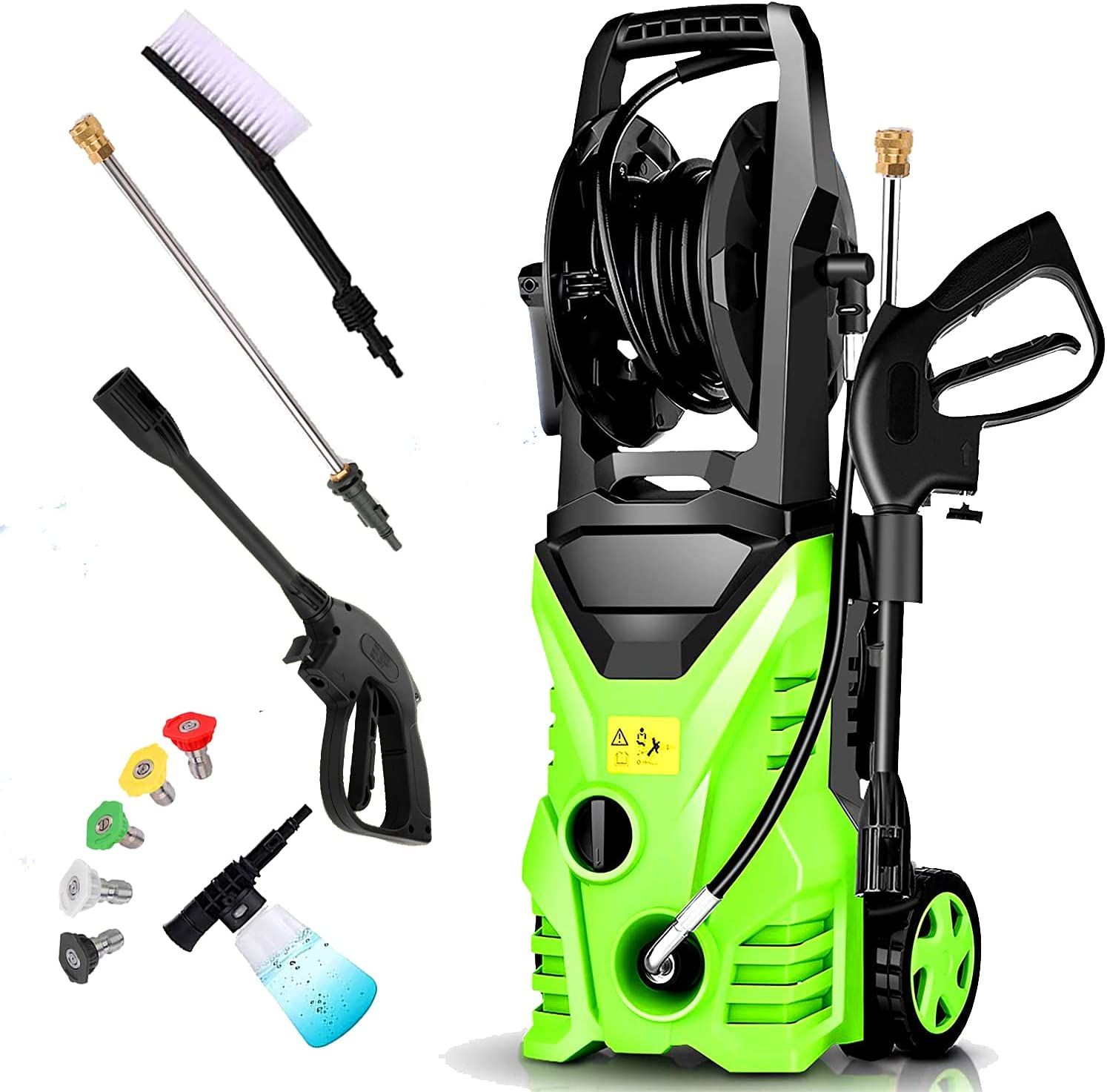Homdox 2950 PSI Pressure Washer 1.75 GPM Power Washer 1800W Electric Pressure Washer with 5 Nozzles,Hose Reel for Cars,Porch,Furniture,Side,Patio (Green)