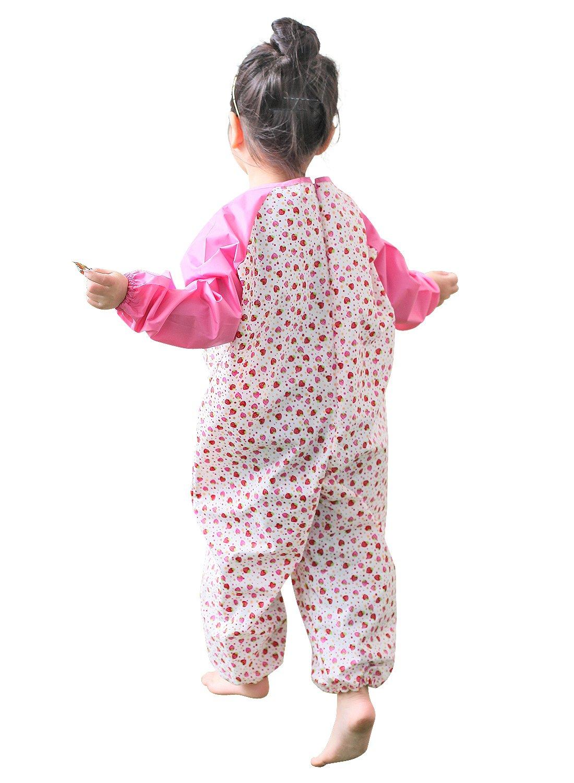 Kids Waterproof Jumpsuit Overalls Art Smock Small Pink Strawberry Plie Children