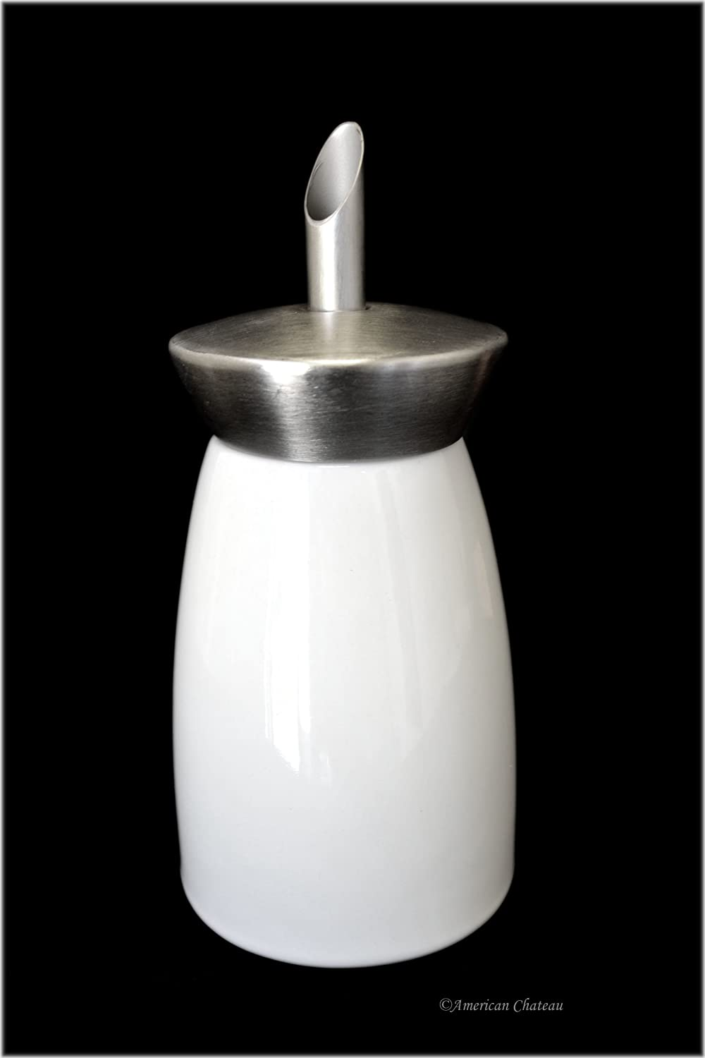 Bistro-Style Shaker White Porcelain & Stainless Steel Sugar Dispenser (1 Tsp) American Chateau