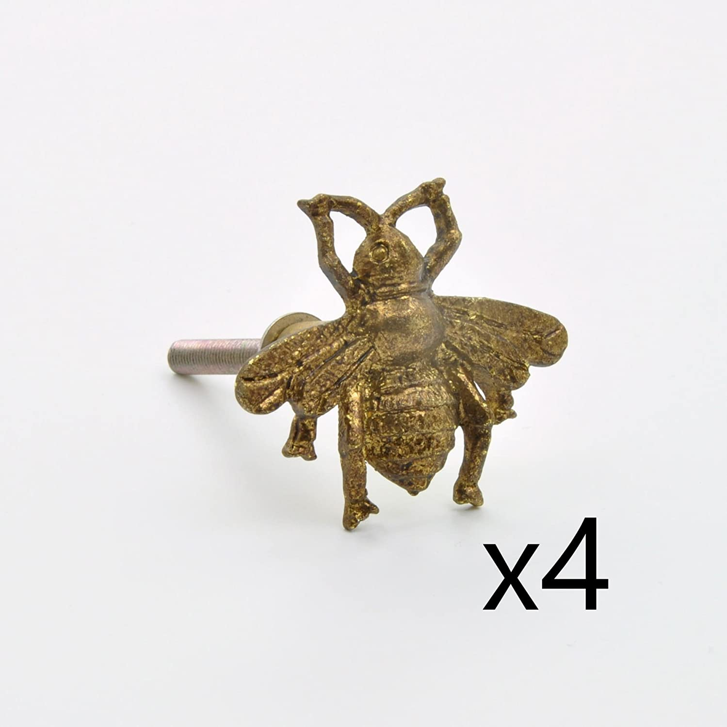(4 Piece Set of) Antique Brass Cute Golden Gold Brass Bumble Bee Metal Knob, Pull, Handle, for Cupboards, Doors, Cabinets, Drawers, Furniture, Kitchens (Plus Fitting Hardware) abodent.com