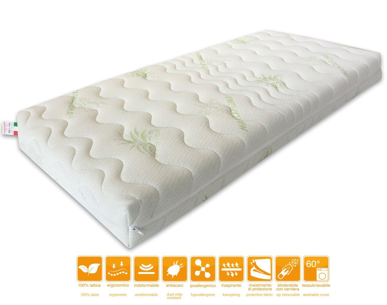 Marcapiuma - Colchón para cuna Látex 60x120 alto 12 cm - TEDDY - colchón para bebé 100% Látex Transpirable - Funda desenfundable Aloe Vera Natural ...