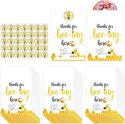 50 Bumble Bee Favor Tags Thank You for Bee-ing Here