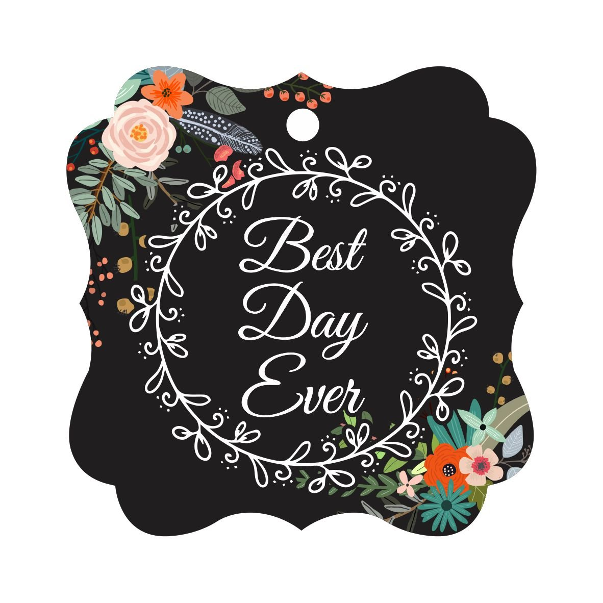 Darling Souvenir Custom Best Day Ever Wedding Party Tags Leaf Wreath Hang Tags-Floral Black-50 Tags
