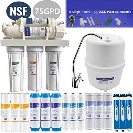 Filtro purificador de agua universal para debajo del fregadero, 5 etapas, sistema de filtración de agua