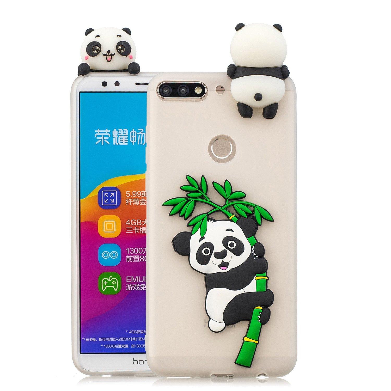 HopMore Panda Licorne Coque pour Huawei Y7 2018 (Honor 7C) Silicone Souple 3D Design Motif Drôle Etui Étui Antichoc Mince Fine Slim Case Housse Protection pour Fille Femme - Licorne Vert