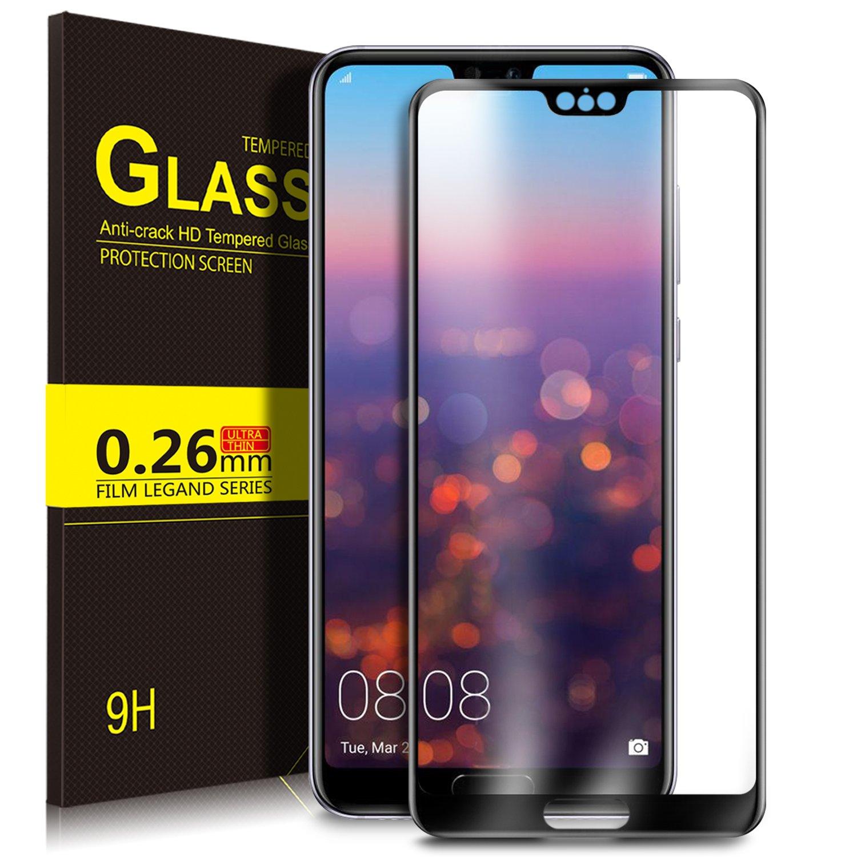 Filme protetor de Huawei P20, filme protetor de KuGi [vidro moderado] Filme protetor de tela de cristal curvado HD para Huawei P20 Pro (preto)