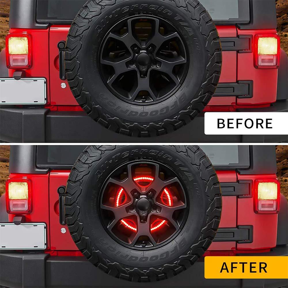 Yuangang LED Brake Spare Light Wheel Light 3rd Brake Light for Jeep Wrangler 2007-2018 JK JL JLU,Red Light 25pcs led