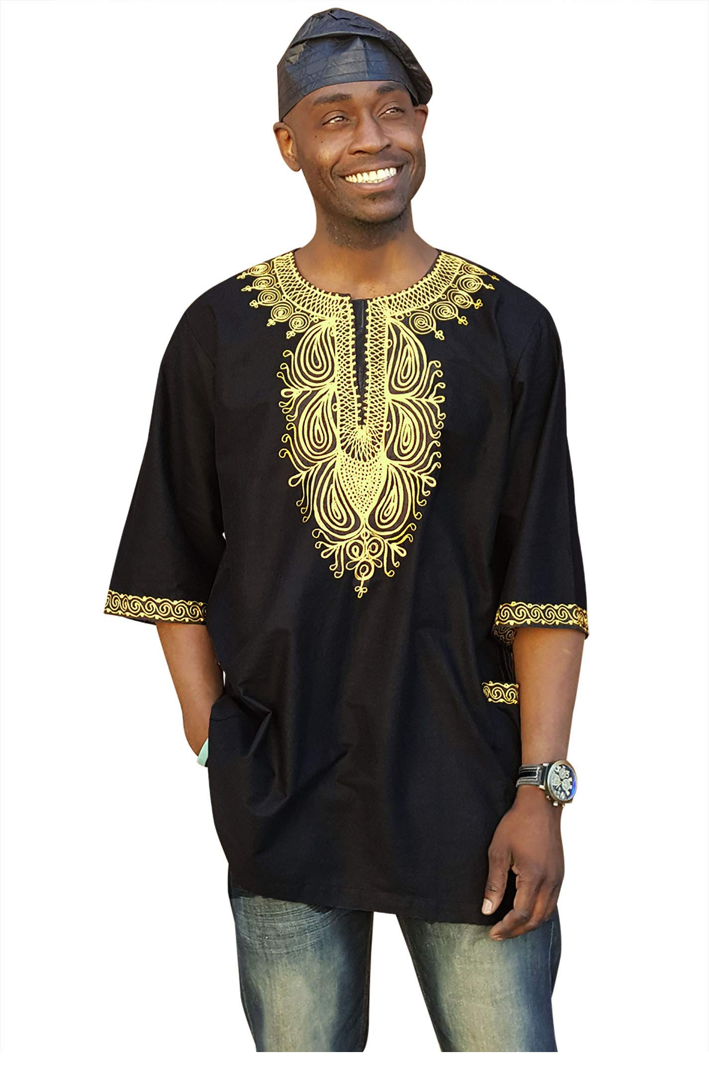 Dupsie's Black Cotton Dashiki African Shirt with Gold Embroidery (7XL)
