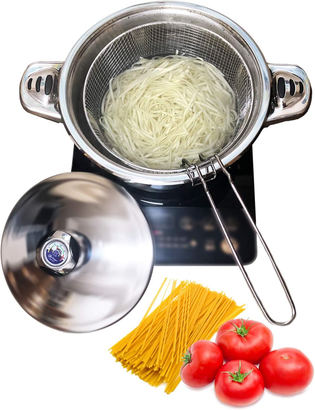 Stainless Steel Tri-Ply Base Pasta Cooker,Multipots With Draining Steamer Basket And Lid (6QT pasta pot)