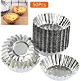 BUYGOO 50pcs Egg Tart Aluminum Cupcake Cake Cookie Mold Lined Mould Tin Baking Cups