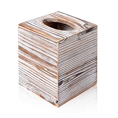 Homode Square Tissue Box Cover- Decorative Rustic Wood Cube Tissue Holder with Slide-Out Bottom Panel, Distressed White