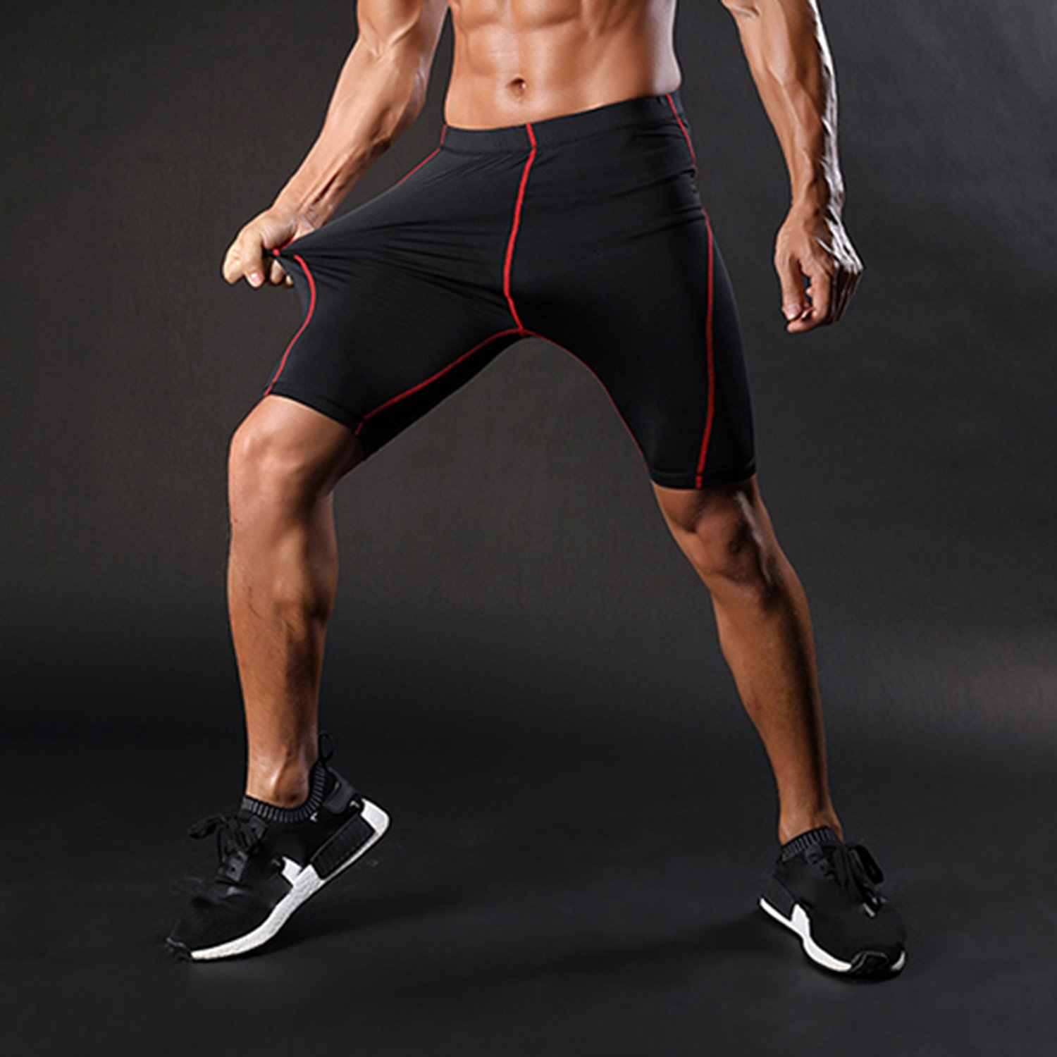 docotor akio Mens Compression Shorts Training Athletic Workout Baselayer Cool Dry Sports Gym Capri Tights