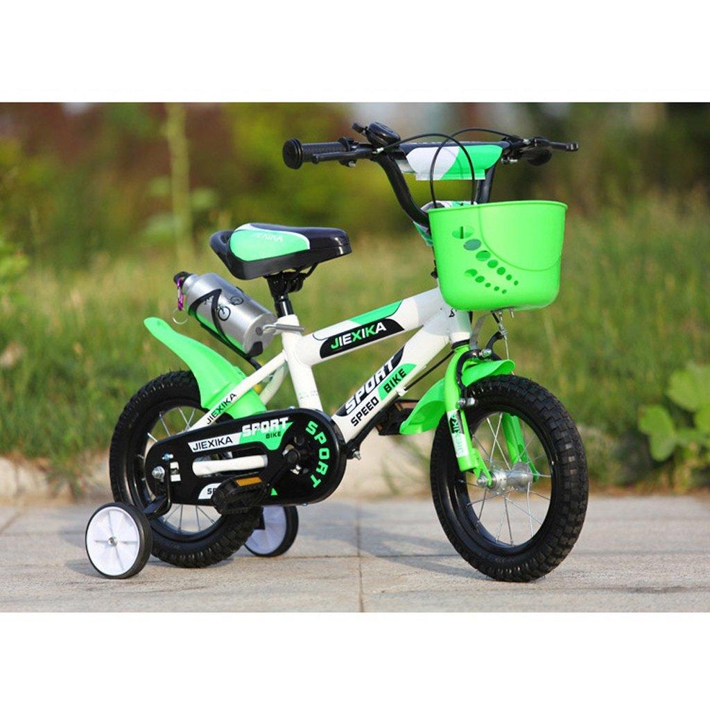 ベビーカーベビーカー16インチベビーカーベビーバイク4-7歳高炭素鋼MTB、オレンジ/グリーン (Color : Green) B07CT86DG8