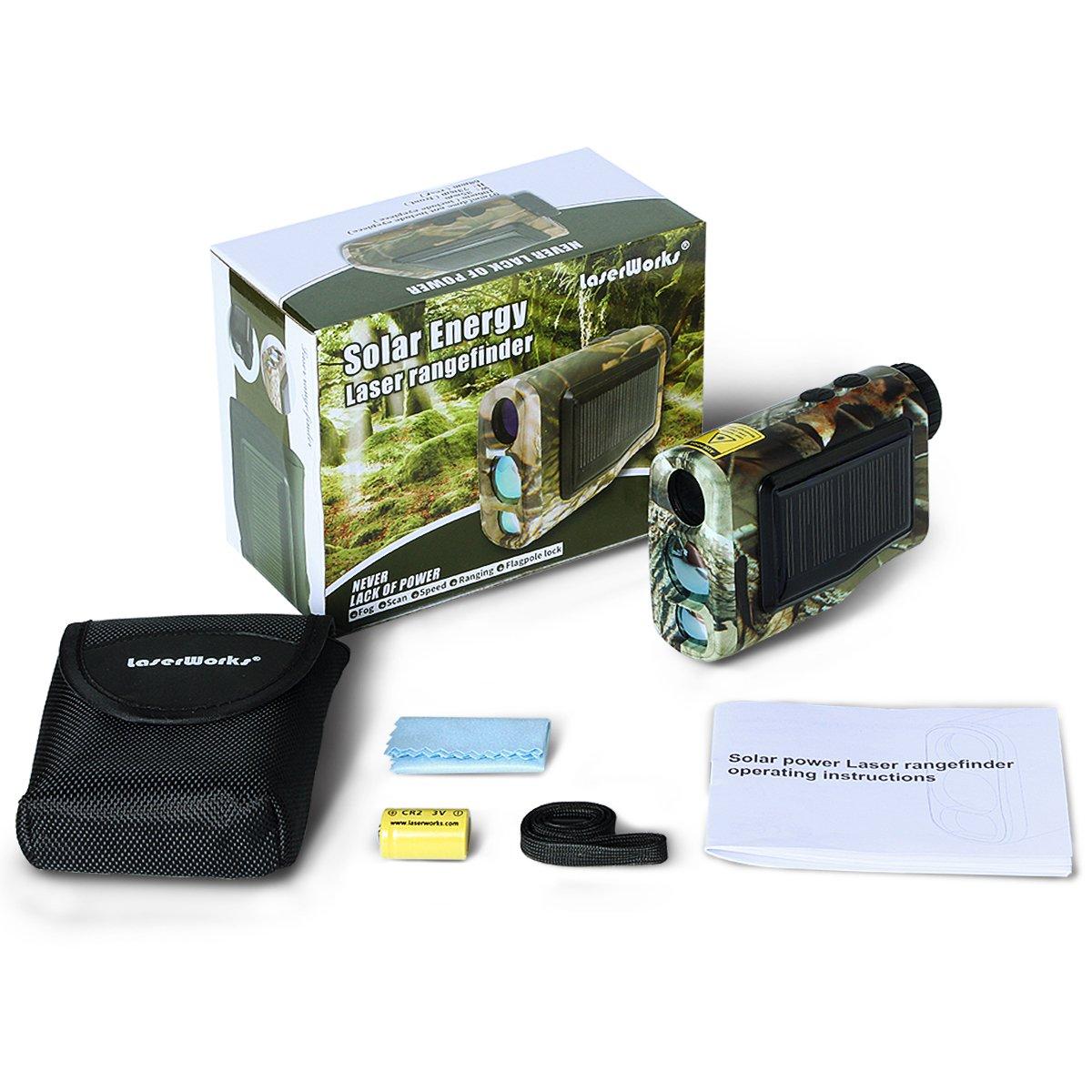 LaserWorks 600m Solar Power Laser Rangefinder for Hunting Golf,Fog measurement,Waterproof (Camouflage) by LaserWorks