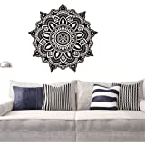 gossipboy vinilo adhesivo de pared Negro Diseño de flores Mantra de Mandala para meditación Yoga (57x 57cm), diseño inspirado en mural de arte de la pared adhesivo para salón decoración del hogar