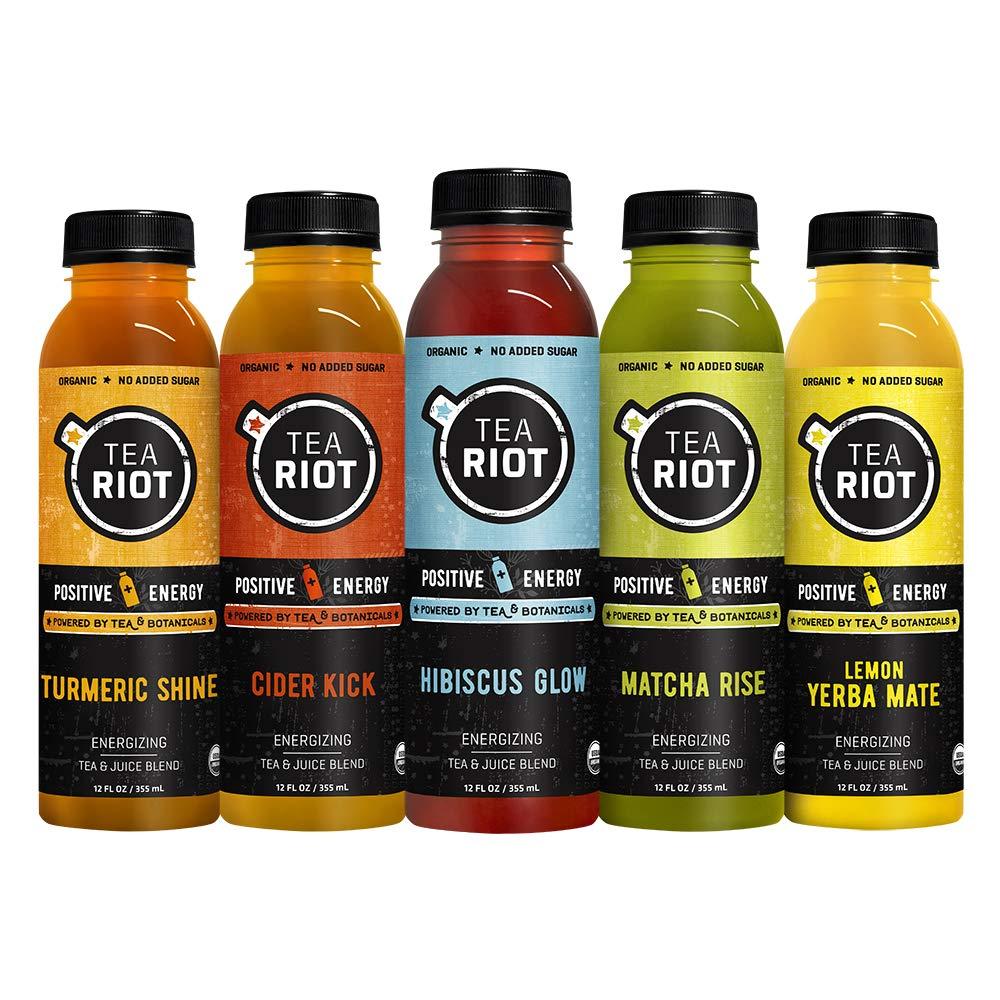 teaRIOT Energy Tea | Organic Energy + plant powered, no added sugar, vegan, afternoon energy, caffeine, L-theanine, hydration, antioxidants, 12 fl Oz (Variety 5 pack)