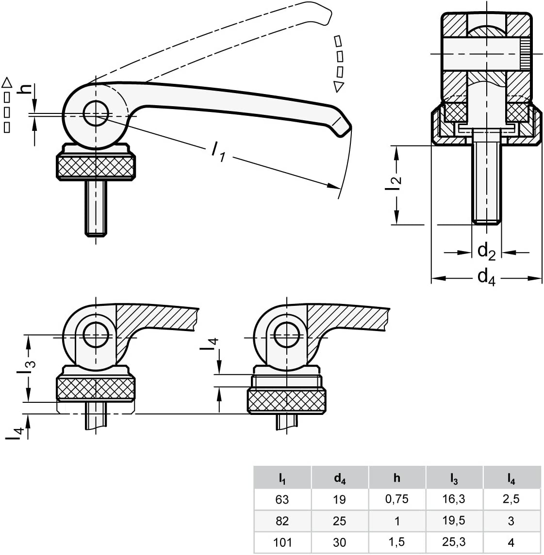 Ganter Standard Elements/  / Eccentric Clamps with Screw Pack of 1, Black, GN 927//82/ M6, 35/ A, B