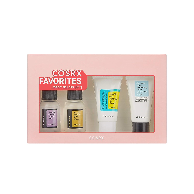 COSRX Favorites Best Sellers Set - Mini Sized Low pH Good Morning Gel Cleanser, AHA/BHA Clarifying Treatment Toner, Advanced Snail 96 Mucin Power Essence, Oil-Free Ultra Moisturizing Lotion