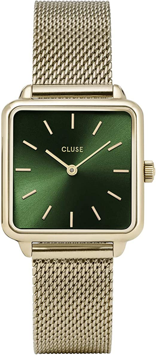 CLUSE LA TÉTRAGONE Mesh Gold Forest Green CL60014 Women's Watch 29mm Square Dial Stainless Steel Strap Minimalistic Design Casual Dress Japanese