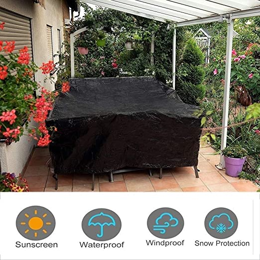 Amazon Com Keanch Outdoor Cube Rattan Furniture Covers Waterproof Cube Outdoor Garden Furniture Dust Cover Cold Resistant Color Black Size 160x140x120cm Kitchen Dining