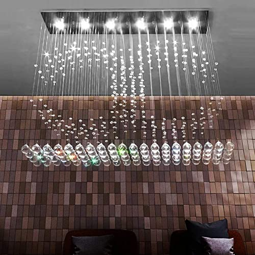 SILJOY Modern Rectangular Crystal Chandelier Rain Drop Design LED Ceiling Lighting Fixture