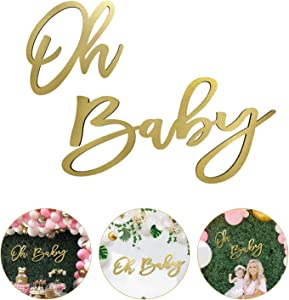 "Wooden ""Oh Baby"" Sign with Gold Painted, Perfect Baby Shower Party Banner for Baby Shower Boy/Girl Decorations Gender Reveal Backdrop Party Photography Background"