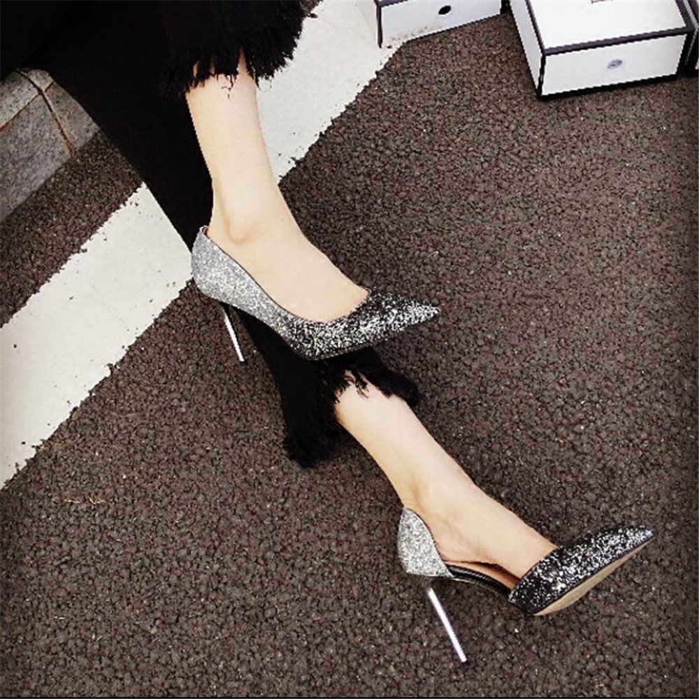 Xue Qiqi Court Schuhe Gradient Mädchen Zeigte Zeigte Zeigte High Heels Weiblichen Seite Wilden Joker mit Einzelnen Schuhe Schuhe 34 Schwarz und Silber 8CM 58b1db