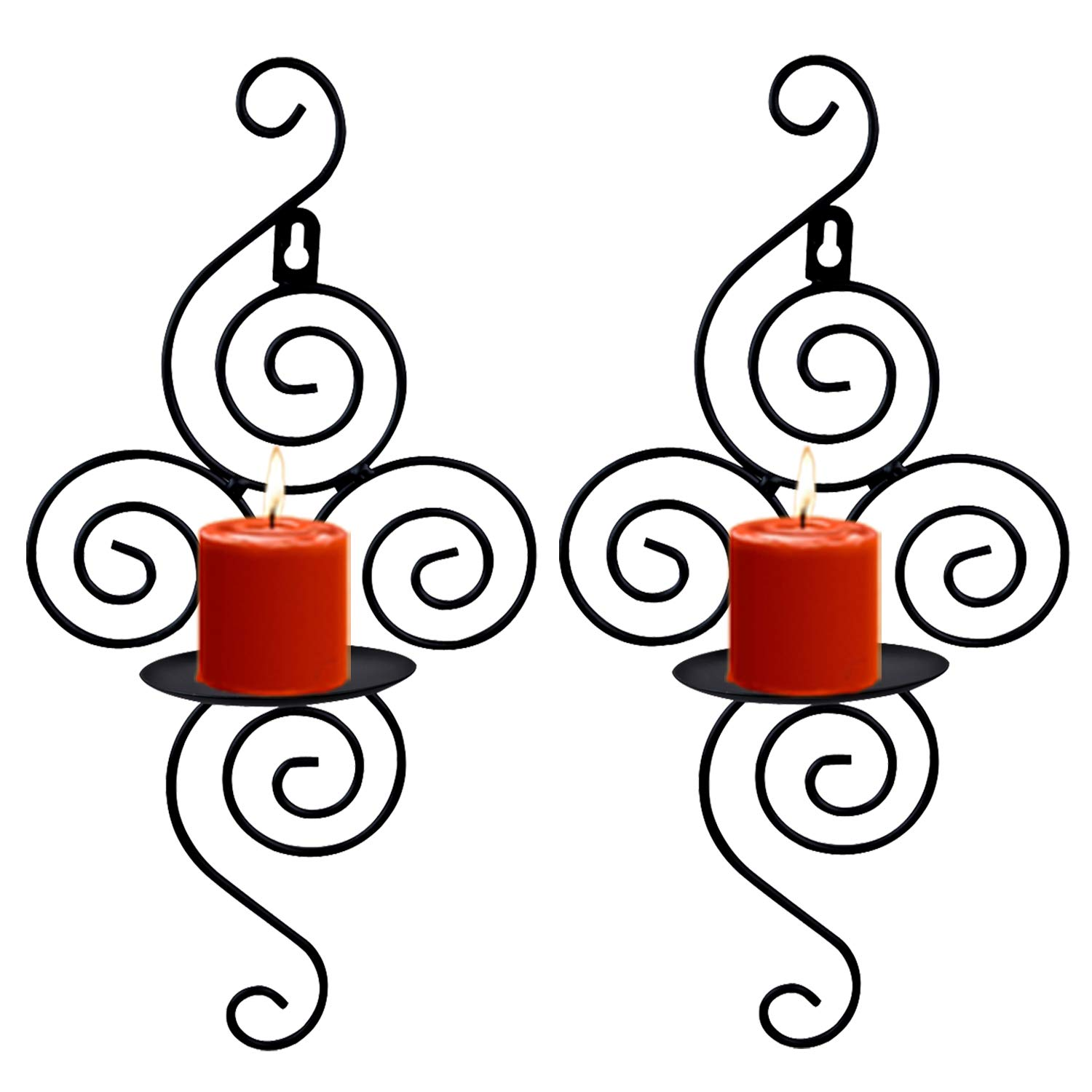 Wall Sconces Candle Holder, Kathy Set of 2 Elegant Swirling Iron Hanging Wall Mounted Decorative Candle Sconce for Living Room Home Decorations,Weddings,Event,Black