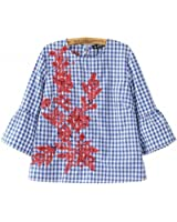 NEW Women floral embroidery plaid blouse full cotton three quarter flare sleeve loose shirts fashion streetwear