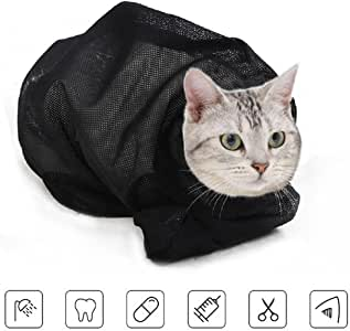 ASOCEA Cat Grooming Bag Biting & Scratching Resisted for Bathing Injecting Examining Nail Trimming