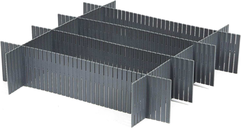 Compactor 3 Lotes de 6 Separadores de Cajones en Plástico Gris RAN7033, 44 x 10 cm