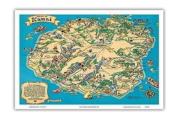 graphic relating to Printable Map of Kauai named Hawaiian Island of Kauai Map - Hawaii Vacationer Bureau - Traditional Hawaiian Coloured Cartographic Map via Ruth Taylor White c.1941 - Hawaiian Understand Artwork