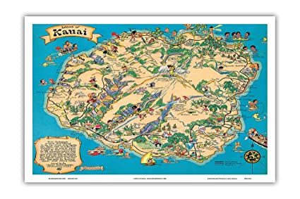 Hawaiian Island of Kauai Map - Hawaii Tourist Bureau - Vintage Hawaiian on oahu street map, kauai travel, island of kauai beaches map, honolulu sightseeing map, kauai things to do, kauai points of interest on hawaii island, lihue street map, kauai sights to see, phoenix points of interest map, kauai tourism, paris points of interest map, kauai sites to see,