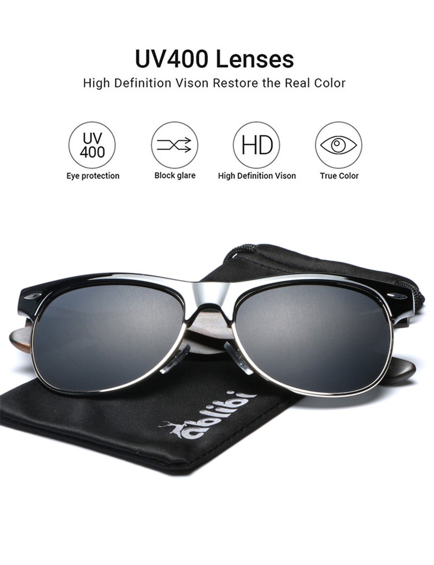 Ablibi Bamboo Wood Semi Rimless Sunglasses with Polarized Lenses in Original Boxes (Ebony, Grey)