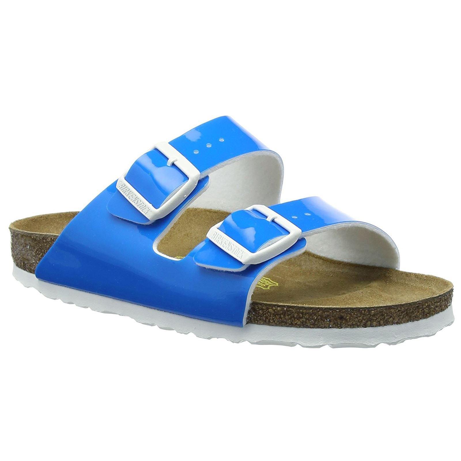 Birkenstock Women's Arizona Neon Blue Patent Birko-Flor 39 N