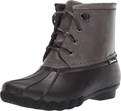 Paso silbar Peticionario  Amazon.com | Skechers Women's Pond-Lace Up Mid Duck Boot with Waterproof  Outsole Rain | Rain Footwear