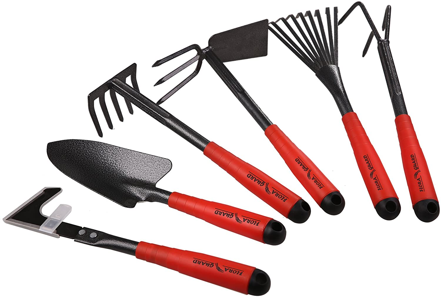 FLORA GUARD 6 Piece Garden Tool Sets - Including Trowel, 5-Teeth rake, 9-Teeth Leaf rake, Double Hoe 3 prongs, Cultivator, Weeder, Gardening Hand Tools with High Carbon Steel Heads : Garden & Outdoor