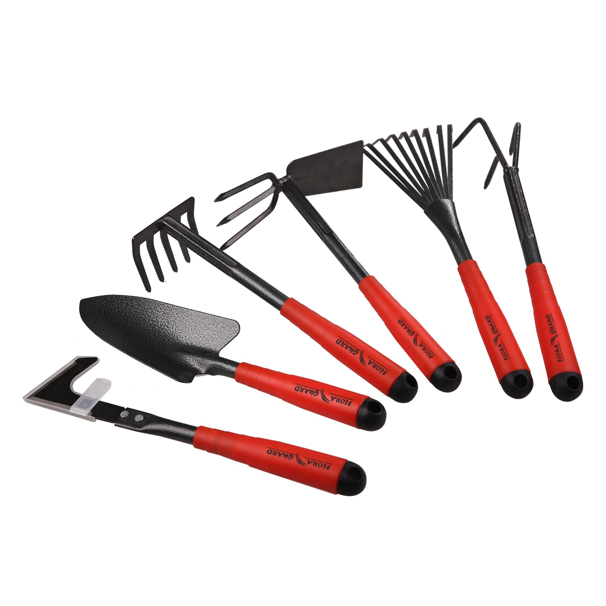 FLORA GUARD 6 Piece Garden Tool Sets - Including Trowel,5-Teeth rake,9-Teeth Leaf rake,Double Hoe 3 prongs, Cultivator, Weeder, Gardening Hand Tools High Carbon Steel Heads